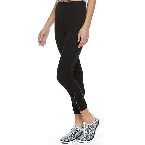 Juniors' Eye Candy Lace-Up High-Waisted Leggings