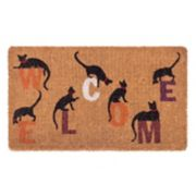 Fab Habitat Inquisitive Cat ''Welcome'' Coir Doormat - 18'' x 30''