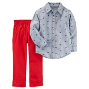 Toddler Boy Carter's 2 pc Dino Print Long-Sleeve Shirt & Red Pants Set