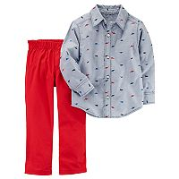 Toddler Boy Carter's 2-pc. Dino Print Long-Sleeve Shirt & Red Pants Set