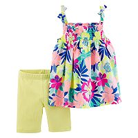 Toddler Girl Carter's Tropical Tank Top & Solid Bike Shorts Set