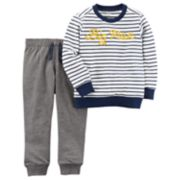 "Toddler Boy Carter's 2-pc. ""Big Man"" Striped Tee & Jogger Pants Set"