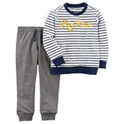 Toddler Boy Carter's 2 pc 'Big Man' Striped Tee & Jogger Pants Set