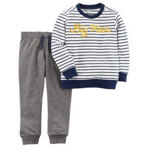 """Toddler Boy Carter's 2-pc. """"Big Man"""" Striped Tee & Jogger Pants Set"""