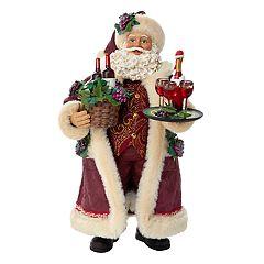 Kurt Adler Santa & Wine Basket Christmas Table Decor
