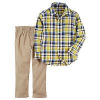 Toddler Boy Carter's 2 pc Yellow Plaid Shirt & Pants Set