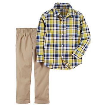 Toddler Boy Carter's 2-pc. Yellow Plaid Shirt & Pants Set