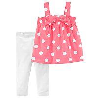 Toddler Girl Carter's Polka-Dot Pink Tank Top & White Leggings Set