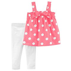 Toddler Girl Carter's Polka-Dot Pink Tank Top & White Leggings Set