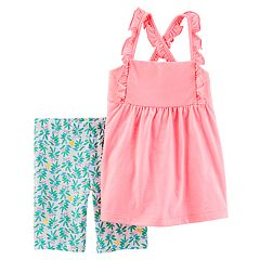 Toddler Girl Carter's Ruffled Tank Top & Leaf Bike Shorts Set