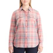 Plus Size Chaps Plaid Twill Shirt