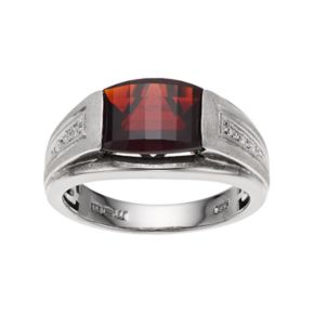 Men's Sterling Silver Garnet & Diamond Accent Ring