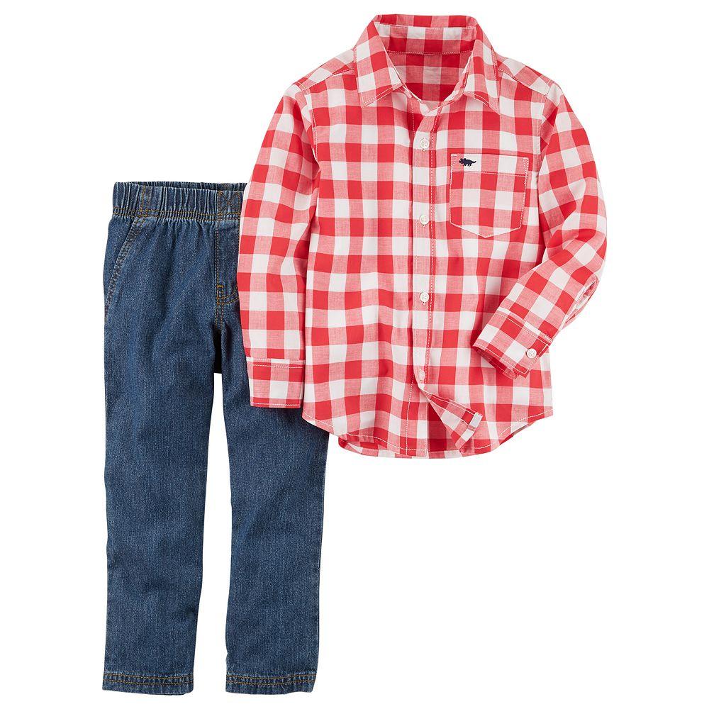 97b051a7 Toddler Boy Carter's 2-pc. Gingham Button Down Shirt & Pants Set
