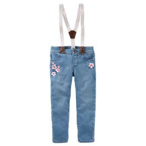 Toddler Girl OshKosh B'gosh® Suspender Flower Embroidered Jeans