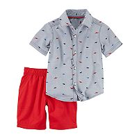 Toddler Boy Carter's 2 pc Dino Print Shirt & Red Shorts Set