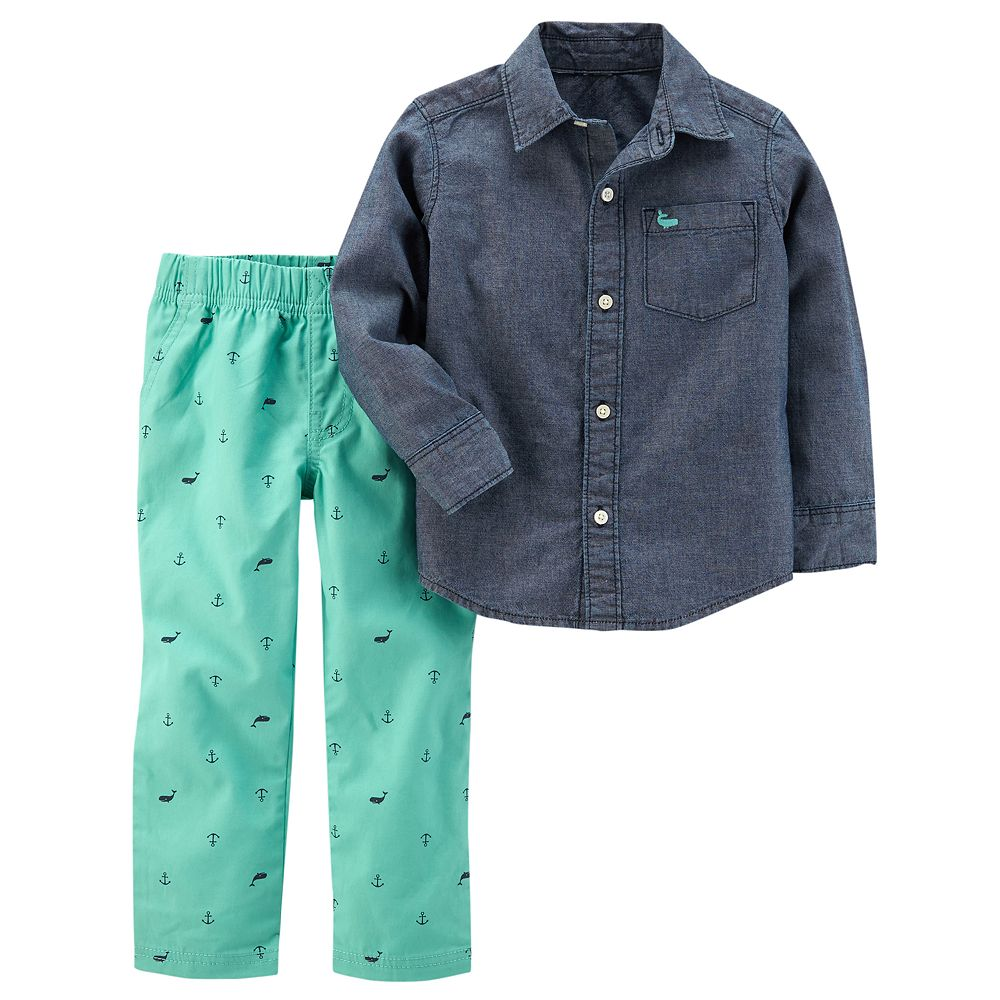 ef8ba5544 Toddler Boy Carter's Chambray Shirt & Printed Pants Set