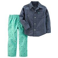 Toddler Boy Carter's Chambray Shirt & Printed Pants Set