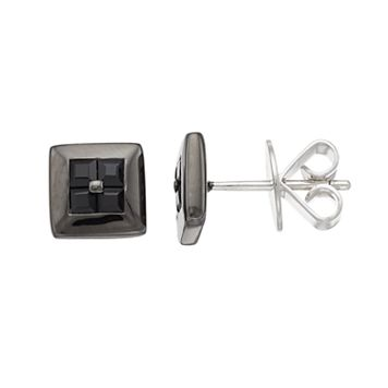 Men's Sterling Silver Black Sapphire Square Stud Earrings