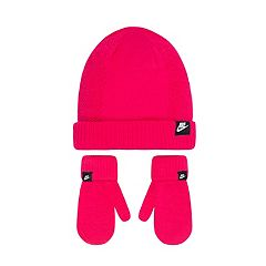 Toddler Girl Nike Pink Beanie & Mittens Set