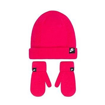 Toddler Girl Nike Pink Beanie & Mittens Set