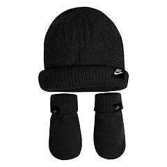 Baby Boy Nike Black Beanie & Mittens Set