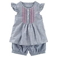 Toddler Girl OshKosh B'gosh Striped Henley Top & Shorts Set