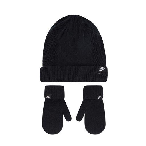Toddler Boy Nike Black Beanie & Mittens Set