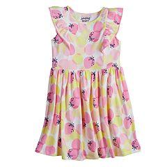 Girls 4-10 Jumping Beans® Pom-Pom Ruffle Trim Patterned Flutter Dress