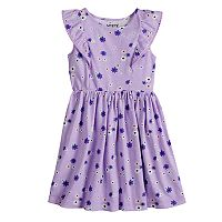 Girls 4-10 Jumping Beans® Pom-Pom Ruffle Trim Patterned Flutter Dress