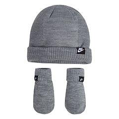 Baby Boy Nike Gray Beanie & Mittens Set