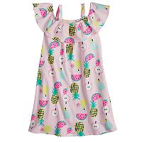 Girls 4-10 Jumping Beans® Ruffle Top Fruit Print Off-Shoulder Dress