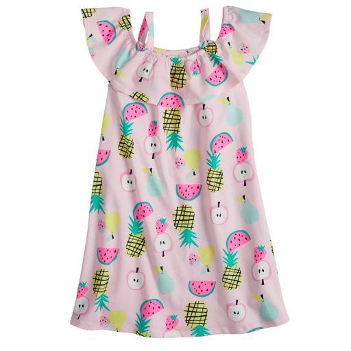 Girls 4-10 Jumping Beans® Ruffle Top Fruit Print Off-Shoulder Dress