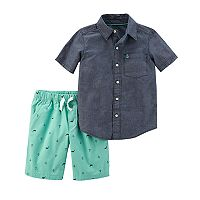 Toddler Boy Carter's Chambray Short Sleeved Shirt & Printed Shorts Sett
