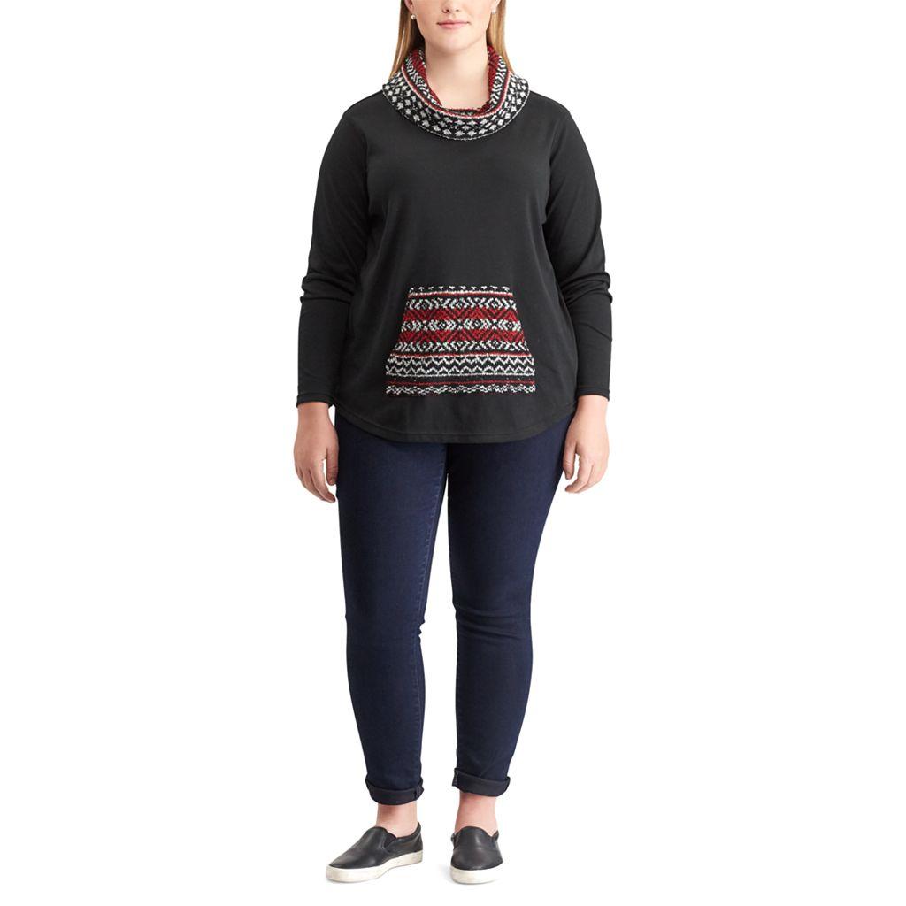 Plus Size Chaps Long Sleeve Knit Top