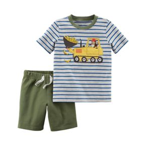 Toddler Boy Carter's 2-pc. Monkey Stripe Top & Shorts Set