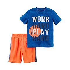 Toddler Boy Carter's 2 pc 'Work Hard Play Hard' Tee & Shorts Set