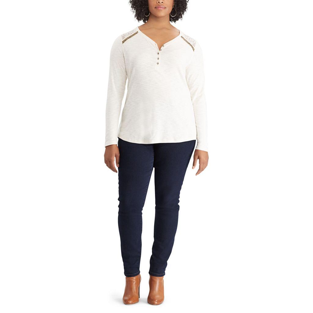 Plus Size Chaps Lace Trim Cotton Henley