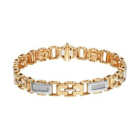 Men's Two Tone 10k Gold 1/4 Carat T.W. Diamond Rectangle Link Bracelet