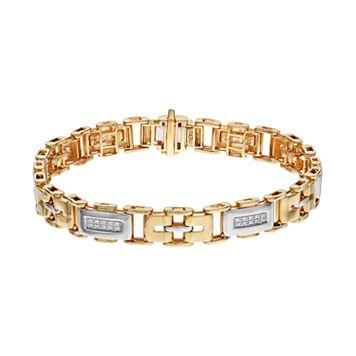 Men's Two Tone 10k Gold 1/4 Carat T.W. Diamond Rectangle Link Bracelet