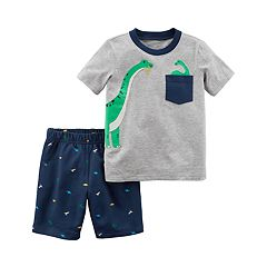 Toddler Boy Carter's 2-pc. Dino Pocket Tee & Printed Shorts Set