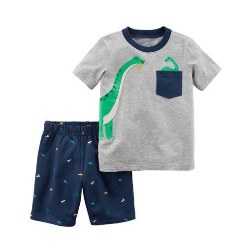 Toddler Boy Carter's 2-pc. Dino Pocket Tee & Printed Shorts Set