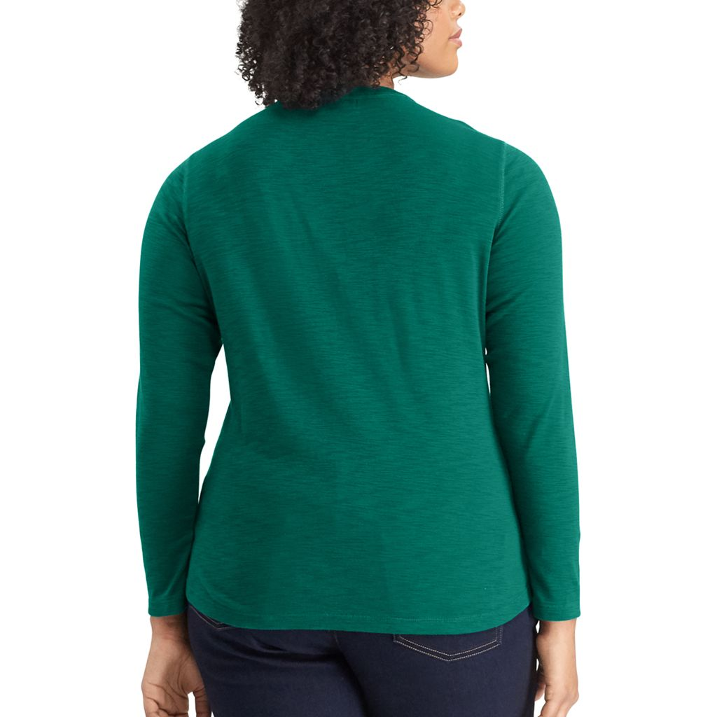 Plus Size Chaps Ribbed Neck Knit Top