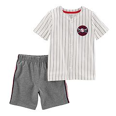 Toddler Boy Carter's Baseball Striped Top & Shorts Set