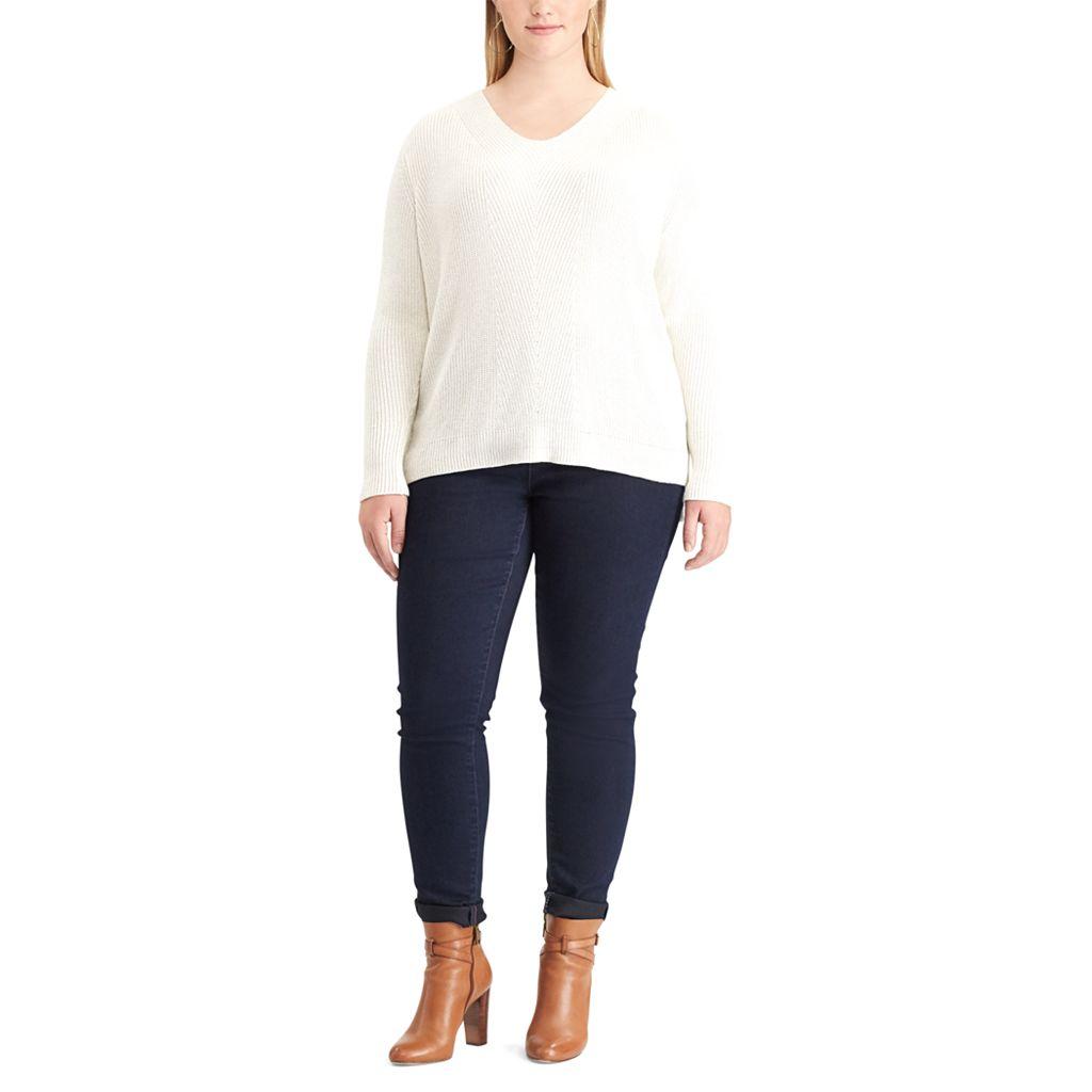 Plus Size Chaps Chevron V-Neck Sweater