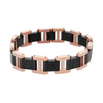 Men's Two Tone Stainless Steel Black Sapphire Bracelet
