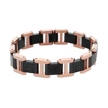 Men's Two Tone Stainless Steel Black Sapphire Bracelet
