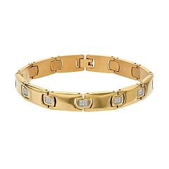 Men's Gold Tone Stainless Steel 1/4 Carat T.W. Diamond Bracelet