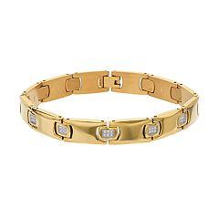 Men's Gold Tone Stainless Steel 1/4 Carat T.W. Diamond Bracelet