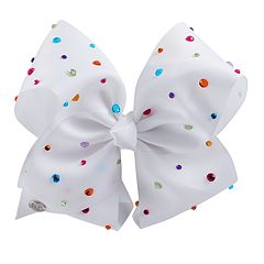 Girls 4-16 JoJo Siwa White Rainbow Rhinestone Bow