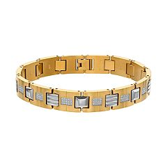 Men's Gold Tone Stainless Steel 1/2 Carat T.W. Diamond Bracelet